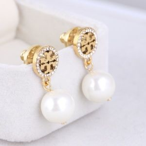 Tory Burch Logo White Pearl Crystal Pave Earrings